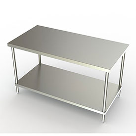 """Aero Manufacturing 3TS-3072-ADJ 72""""W x 30""""D Adjustable Height Stainless Steel Work Bench"""