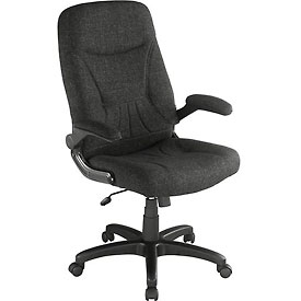 Executive Chair with Arms - Fabric - Mid Back - Black