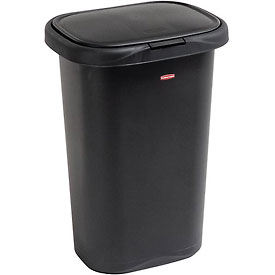 Rubbermaid® Liner Lock™ Spring Top™ Wastebasket 5l58 52 Qt, Black