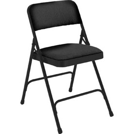 "Steel Folding Chair - 1-1/4"" Fabric Seat - Double Brace - Black - Pkg Qty 4"