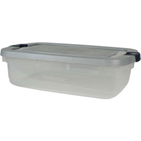 Rubbermaid 1785783 Roughneck Clear Tote 31 Quart Steel Lid Blue Latch - Pkg Qty 6