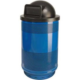 Perforated Stadium Series® Trash Container w/Dome Top - 55 Gallon Blue