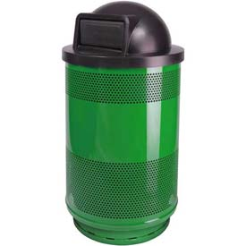 Perforated Stadium Series® Trash Container w/Dome Top - 55 Gallon Green