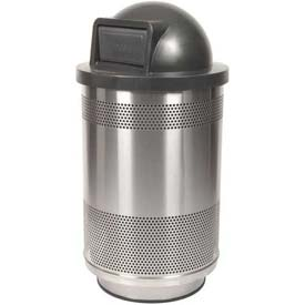 Perforated Stadium Series® Trash Container w/Dome Top -55 Gallon Stainless