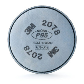 3M™ Particulate Filter 2078, P95, with Nuisance Level Organic Vapor/Acid Gas Relief