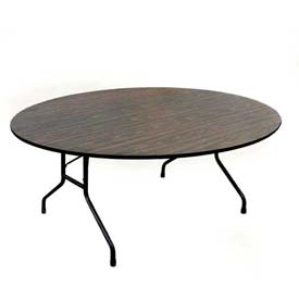 "Correll Melamine Top Folding Table, 48"" Round, Walnut"