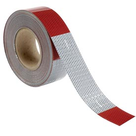 """Conspicuity Reflective Tape, 11""""/7"""" Pattern, 13 mil Vinyl, Red/White, DOT-C2, 150'L x 2""""W, 1 Roll"""