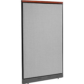 "Interion™ Deluxe Non-Electric Office Cubicle Panel with Raceway, 48-1/4""W x 77-1/2""H, Gray"