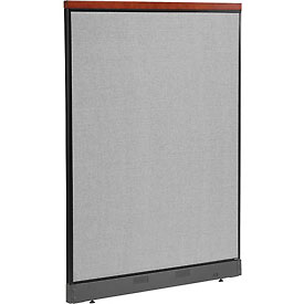 "Deluxe Office Partition Panel with Pass Thru Cable, 48-1/4""W x 65-1/2""H, Gray"