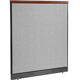 "Deluxe Office Partition Panel with Pass Thru Cable, 60-1/4""W x 65-1/2""H, Gray"