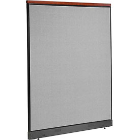 "Deluxe Office Partition Panel with Pass Thru Cable, 60-1/4""W x 77-1/2""H, Gray"