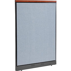 "Deluxe Non-Electric Office Partition Panel with Raceway, 48-1/4""W x 65-1/2""H, Blue"