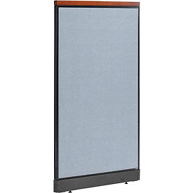 "Deluxe Non-Electric Office Partition Panel with Raceway, 36-1/4""W x 65-1/2""H, Blue"