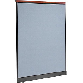 "Deluxe Non-Electric Office Partition Panel with Raceway, 60-1/4""W x 77-1/2""H, Blue"