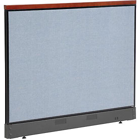 "Deluxe Office Partition Panel with Pass Thru Cable, 60-1/4""W x 47-1/2""H, Blue"