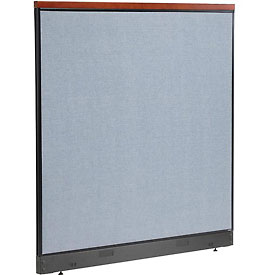 "Deluxe Office Partition Panel with Pass Thru Cable, 60-1/4""W x 65-1/2""H, Blue"