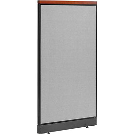 "Interion™ Deluxe Office Cubicle Partition Panel with Raceway, 36-1/4""W x 65-1/2""H, Gray"