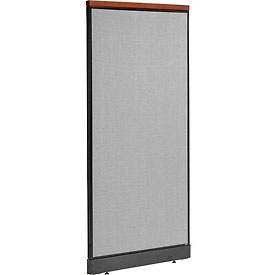"Deluxe Office Partition Panel with Raceway, 36-1/4""W x 77-1/2""H, Gray"