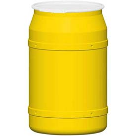 Eagle 55 Gal. Yellow Plastic Open-Head Straight Lab Pack Drum 1656 - Plastic Lever Lock