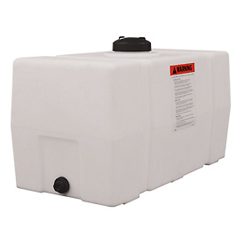 romotech 50 gallon plastic storage tank square end with flat bottom