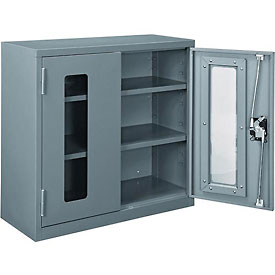 "Global™ Clear View Wall Storage Cabinet Assembled 30""W x 12""D x 30""H Gray"