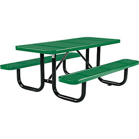 "72"" Rectangular Perforated Picnic Table, Green"