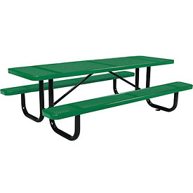 "96"" Rectangular Perforated Picnic Table, Green"