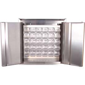 "Global™ Stainless Steel Wall Mount Cabinet - All-Welded with 20 Clear Bins 30""W x 12""D x 30""H"