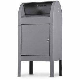 "Steel Curbside Collection Box, 22-1/2""W x 22-1/2""D x 48""H, Grey"