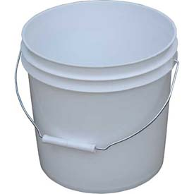 Vestil 2 Gallon Open Head Plastic Pail PAIL-2-PWS with Steel Handle - White