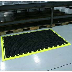 "Workmaster II Anti-Fatigue Mat 4 Side Border 40""x64"" High Visibility Yellow"