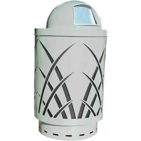 Covington Sawgrass 40 Gallon Steel Receptacle w/Dome Top - Silver