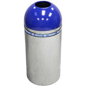 Dome Recycling Receptacle with Open Top - Chrome/Blue Top