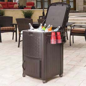 Suncast Resin Wicker Cooler With Cabinet, Java