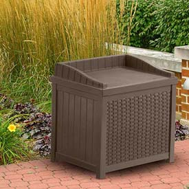 Suncast Resin Wicker Storage Seat Deck Box, 22 Gallon, Java