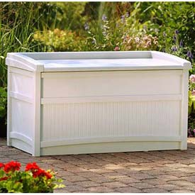 Suncast DB5500 Deck Box with Seat 50 Gallon Light Taupe