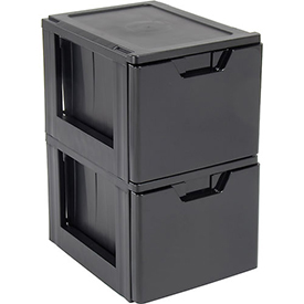 "IRIS Premier Stacking File Drawer, 19-5/8""X15-3/8""X13-3/8"", Black - Pkg Qty 2"