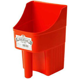 Little Giant Enclosed Feed Scoop 150408, Heavy-Duty Polypropylene, 3 Qt., Red - Pkg Qty 12