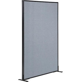 "Freestanding Office Partition Panel, 36-1/4""W x 60""H, Blue"