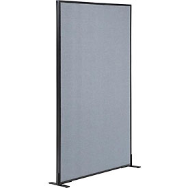 "Freestanding Office Partition Panel, 36-1/4""W x 72""H, Blue"
