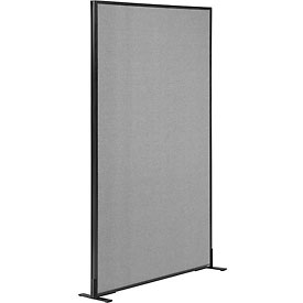 "Freestanding Office Partition Panel, 36-1/4""W x 72""H, Gray"