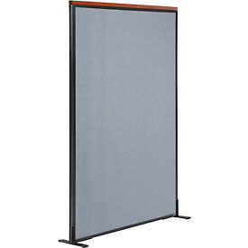 "Interion™ Deluxe Freestanding Office Cubicle Partition Panel, 36-1/4""W x 61-1/2""H, Blue"