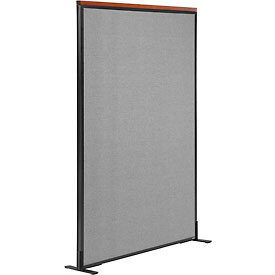 "Deluxe Freestanding Office Partition Panel, 36-1/4""W x 61-1/2""H, Gray"