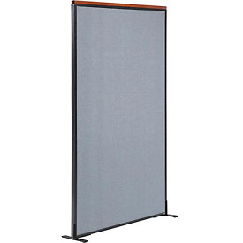 "Deluxe Freestanding Office Partition Panel, 36-1/4""W x 73-1/2""H, Blue"