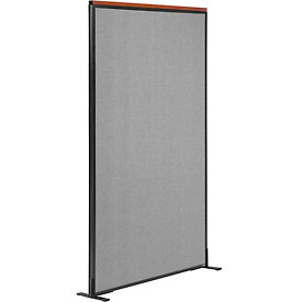 "Interion™ Deluxe Freestanding Office Cubicle Partition Panel, 36-1/4""W x 73-1/2""H, Gray"