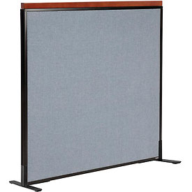 "Interion™ Deluxe Freestanding Office Cubicle Partition Panel, 48-1/4""W x 43-1/2""H, Blue"