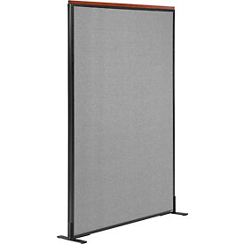 "Deluxe Freestanding Office Partition Panel, 48-1/4""W x 61-1/2""H, Gray"