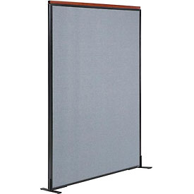 "Interion™ Deluxe Freestanding Office Cubicle Partition Panel, 48-1/4""W x 73-1/2""H, Blue"