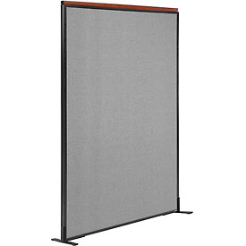 "Deluxe Freestanding Office Partition Panel, 48-1/4""W x 73-1/2""H, Gray"