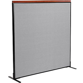 "Deluxe Freestanding Office Partition Panel, 60-1/4""W x 61-1/2""H, Gray"